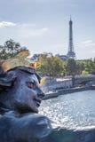Statue of bridge Alexandre III and Eiffel tower, Paris Stock Photos