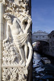 Statue and Bridge of sighs Stock Photos