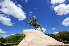 The statue of the Bronze horseman Stock Photography