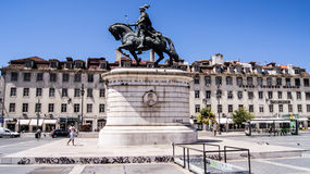 Statue in bronze of King Joao I of Portugal in Figueira Square. Stock Photo