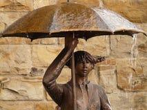 Statue, Bronze, Umbrella, Woman Royalty Free Stock Photos