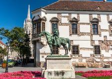 Statue in Buda Castel, Hungary. Equestrian statue in Buda Castle, Hungary Stock Images