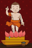 Statue of Buddha Being Washed Traditionally, Vector Illustration Stock Image