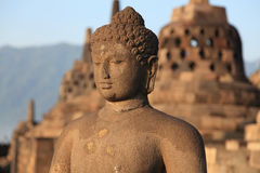 Statue of Buddha in Borobudur temple Stock Photography