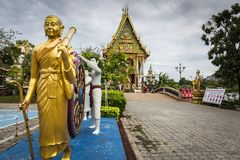 Statue of Buddha in front of chapel at Wat PlaiLaem, Koh Samui,. Thailand Royalty Free Stock Images