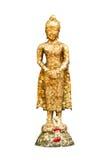 Statue of buddha and garland at thai temple ,Bangkok ,Thailand Stock Image