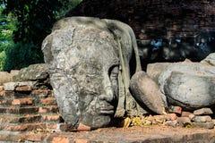 Statue Buddha Head Remain of King Borommarachathirat II of the Ayutthaya Kingdom called Ratburana Temple. (locally know as Wat Ratburana Stock Photos