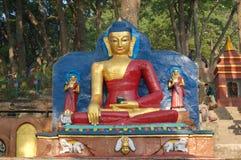 Statue of Buddha in Kathmandu, Nepal. Head-on shot of statue of Buddha in Kathmandu, Nepal in the morning light Stock Image