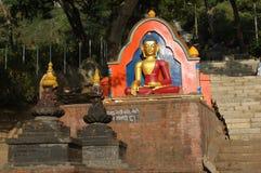 Statue of Buddha in Kathmandu, Nepal. In the morning light Royalty Free Stock Photo