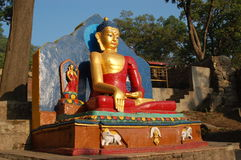 Statue of Buddha in Kathmandu, Nepal. In the morning light Stock Image