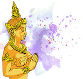 Statue Buddha meditation in Nirvana, Thai style,  pic Royalty Free Stock Images