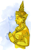 Statue Buddha meditation in Nirvana, Thai style,  pic Royalty Free Stock Photography
