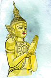 Statue Buddha meditation in Nirvana, Thai style,  pic Stock Photography