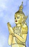 Statue Buddha meditation in Nirvana, Thai style,  pic Royalty Free Stock Image