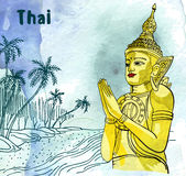 Statue Buddha meditation in Nirvana, Thai styled. Palm and ocean beach watercolor background.   Stock Photos