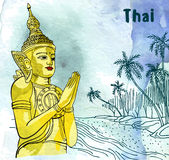 Statue Buddha meditation in Nirvana, Thai styled. Palm and ocean beach watercolor background.   Stock Images