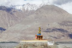 Statue of Buddha near Diskit Monastery in Nubra Valley, Ladakh, India. It is a 32 metre statue facing down the Shyok River towards Pakistan stock photo