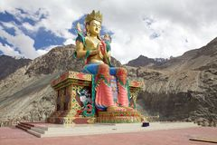 Statue of Buddha near Diskit Monastery in Nubra Valley, Ladakh, India. It is a 32 metre statue facing down the Shyok River towards Pakistan stock image