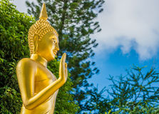 The statue of Buddha posture in Thai temple Royalty Free Stock Photography
