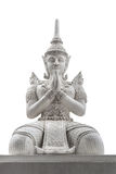 The statue Buddha. The Thai antique statue isolated on white background Stock Photo