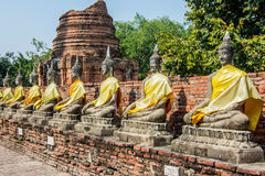 Statue of buddha at Wat Yai Chaimongkol stock photography