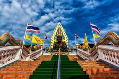 Statue buddhism place at temple in Thailand. On daylight Stock Photo