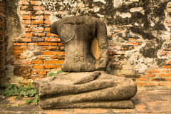 Statue Budha in ruin on Ayutthaya. Royalty Free Stock Photo