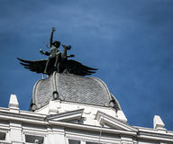 Statue on building in Madrid Royalty Free Stock Images