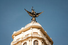 Statue on building in Madrid Royalty Free Stock Photography
