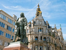 Statue and buildings along Meir Street, Antwerp Royalty Free Stock Image