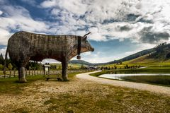 Statue of bull near lake at Teichalm, Austria.  Royalty Free Stock Photo