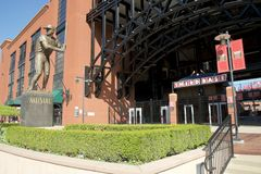 Statue at Busch Stadium, Downtown St. Louis. Cardinal Nation, or Redbird Nation, is a term sometimes used to describe, in aggregate, the fans of the St. Louis Stock Image