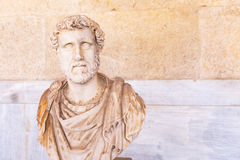 Statue bust of Roman emperor Antoninus Pius in Athens. Bust statue of Roman emperor Antoninus Pius inside the Stoa of Attalos in Agora, Athens, Greece Royalty Free Stock Photo