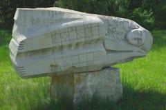 Statue called sleep. Stone statue of a sleeping man, whose author is Lyudmila Misko in Kanev Ukraine Stock Photography