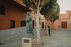 A statue of a Canarian woman holding a water jar in Aguimes, Gran Canaria. Canary Islands royalty free stock photography