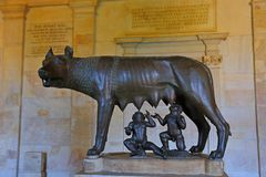 Statue Capitoline Wolf displayed in the Capitoline Museums in Rome stock images
