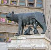 Statue of Capitoline Wolf (Lupa Capitolina), Bucharest, Romania Royalty Free Stock Photography