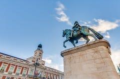 Statue of Carlos III in Madrid, Spain. Stock Images