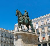 Statue of Carlos the third in puerta del sol, Madrid royalty free stock photos