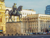 Statue of carol on the horse from Bucharest Stock Photography