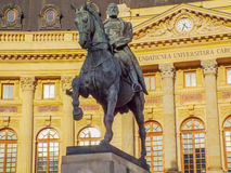 Statue of carol on the horse from Bucharest Royalty Free Stock Photos