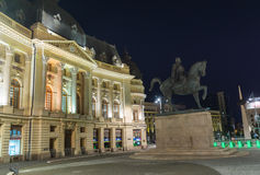 Statue of Carol I. In Bucharest. Night view Royalty Free Stock Image