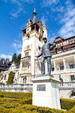 Statue of Carol I, king of Romania, in front of Peles Castle, Romania. Statue of Carol I, king of Romania, in front of Peles Castle, Transylvania, Romania Stock Images