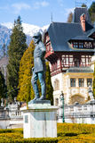 Statue of Carol I, king of Romania, in front of Peles Castle, Romania royalty free stock photography