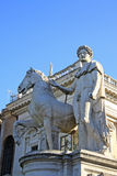 Statue of Castor at the Cordonata stairs on Capitoline Hill, Rome Italy Stock Photography