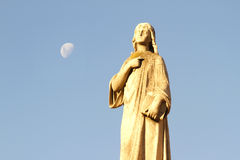 Statue in the Cemetery of Recoleta under the Moon Royalty Free Stock Photos