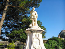 Statue in the center of old fortress. In old Town of Corfu island Greece Royalty Free Stock Photo