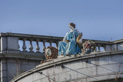 Statue of Ceres in Aberdeen , Scotland. Statue of Ceres on the roof of the old Clydesdale bank on Union street in Aberdeen, Scotland Royalty Free Stock Photo