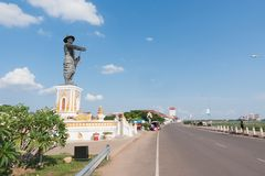 Statue of Chao Anauo, King Anu, Vientiane, Laos. The capital of Laos, Vientiane, on the Mekong River has the statue of the Lao King. It is said to be a statue of royalty free stock photo
