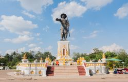 Statue of Chao Anauo, King Anu, Vientiane, Laos. The capital of Laos, Vientiane, on the Mekong River has the statue of the Lao King. It is said to be a statue of stock photo